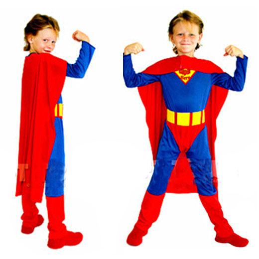 儿童节演出服装 万圣节男童服装男超人服装 超人衣服超人装中大童
